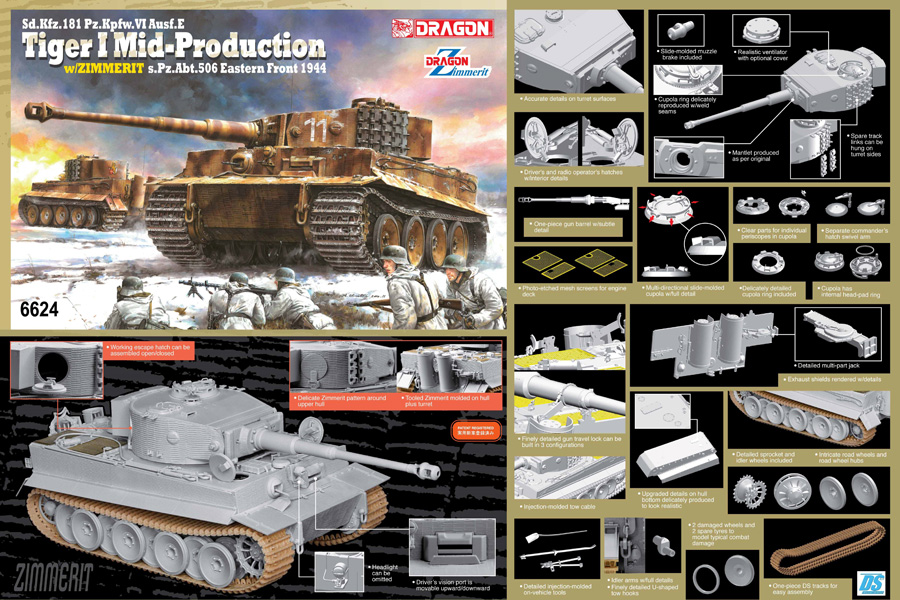 Byggmodell stridsvagn - Sd.Kfz.181 Pz.Kpfw .VI Ausf.E TIGER I MID PRODUCTION - 1:35 - DR