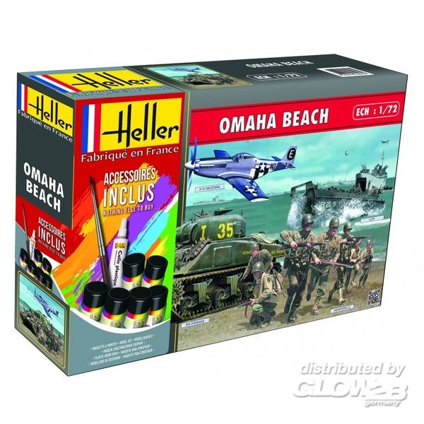 RC Radiostyrt Byggmodell - Omaha Beach 1:72 - Sherman P-51-Mustang US-WWII-infantry - Heller