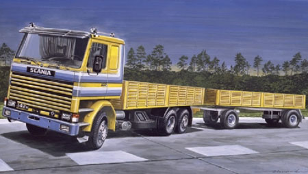 Byggmodell lastbil - Scania 142M Flat Bed - 1:24 - IT