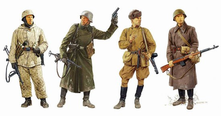 RC Radiostyrt Byggmodell gubbe - Ostfront Winter Combatants 1942-43 4 Figures Set - 1:35 - Dragon